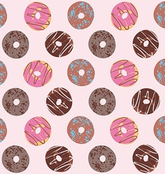 Seamless pattern with glazed donuts Chocolate and vector image