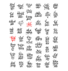 Set of 50 hand lettering inscription about happy vector