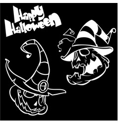set of funny halloween jack o lanterns vector image