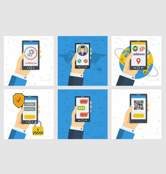 six concept with operation of smart phone in hand vector image
