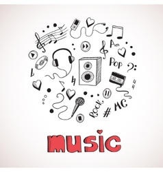 Sketch of music elements vector image