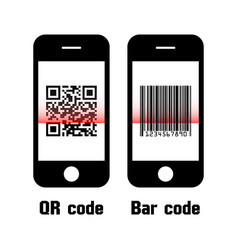 Smartphone scan qr code and bar code flat design vector