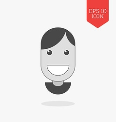 Smiling happy face icon Flat design gray color vector image