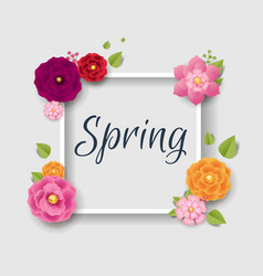 Spring poster with flowers background vector