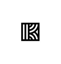 square stripes logo letter k vector image
