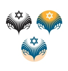 Star of David icons Hanukkah symbol vector image