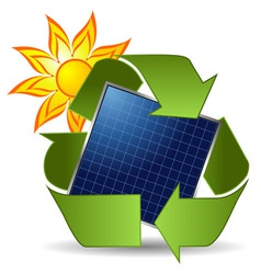 sun recycle symbol and solar panel over white back vector image vector image