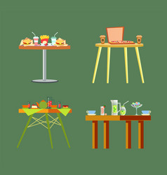 Tables of restaurants cafes with meal design set vector