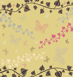 The of flowers and butterflies vector