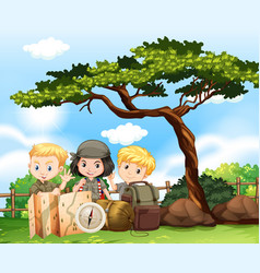 three kids camping out in the park vector image