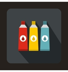 Three tubes with colorful paint icon vector image