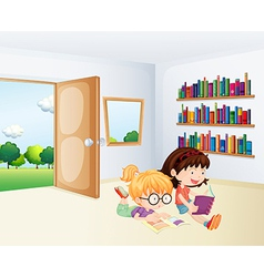 Two girls reading inside a room vector image