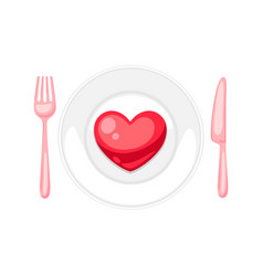 valentines day heart on plate with fork and knif vector image