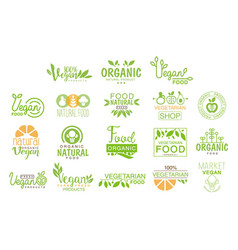 Vegan natural food set of template cafe logo signs vector