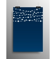 Vertical Poster Garland Bright Bulbs vector