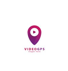 video gps map pointer logo vector image