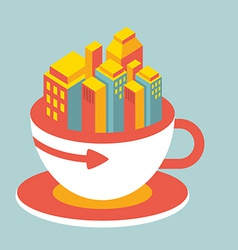 Volume modern city in cup of coffee vector