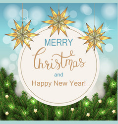 white card with christmas wreath vector image