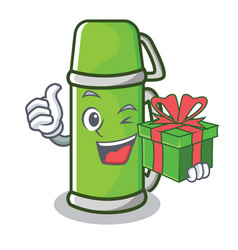 With gift thermos character cartoon style vector