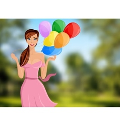 Woman balloon portrait vector image