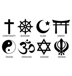 world religion symbol icon set vector image