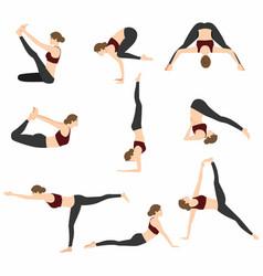 Yoga poses set design vector