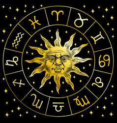 zodiac sun icon astrology horoscope with signs vector image