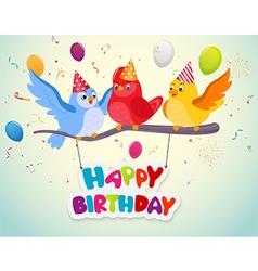 Birthday celebration with cute birds vector image vector image