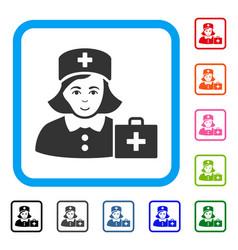 First-aid nurse framed positive icon vector