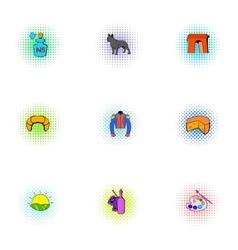 France Republic icons set pop-art style vector image