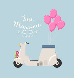 retro wedding scooter vector image
