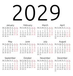 Simple calendar 2029 monday vector