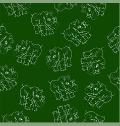 white rhino seamless pattern vector image vector image