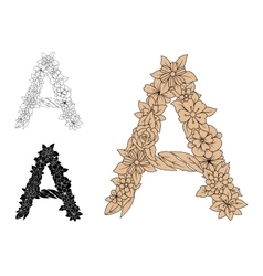Capital letter A with flourishes vector image vector image