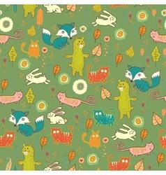 Cartoon cute forest seamless pattern vector image