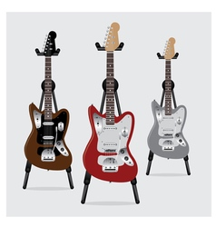 Electric Guitar set with Stand vector image
