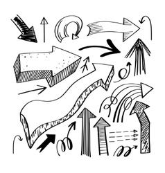 set of hand drawing isolated arrows collection on vector image vector image