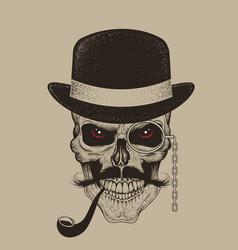 skull-gentleman dressed in hat smoking cigar vector image
