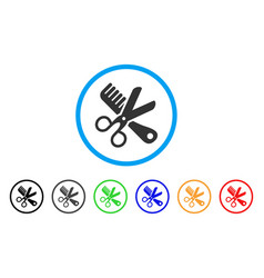 comb and scissors tools rounded icon vector image