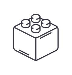 constructor bricks line icon sign vector image