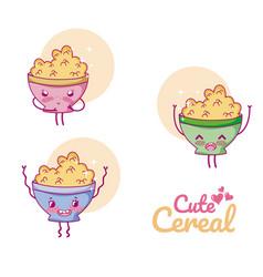 cute cereal bowl kawaii cartoon vector image