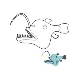 Deep-sea anglerfish coloring book Fish monster vector image vector image