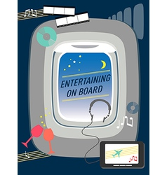 Entertainment on flight Airline travel concept vector image vector image