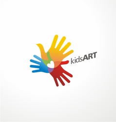 Kids art logo design vector image