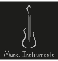 Musical instruments shop logo with guitar vector image vector image