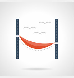 Red hammock flat color icon vector