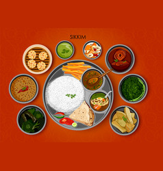 traditional cuisine and food meal thali of sikkim vector image vector image