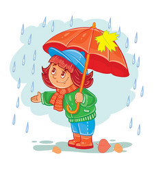icon of small girl with an umbrella vector image vector image