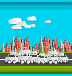 paper cut cars and clouds flat design busy time vector image vector image