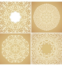 Set of 4 round lace ornamental backgrounds vector image